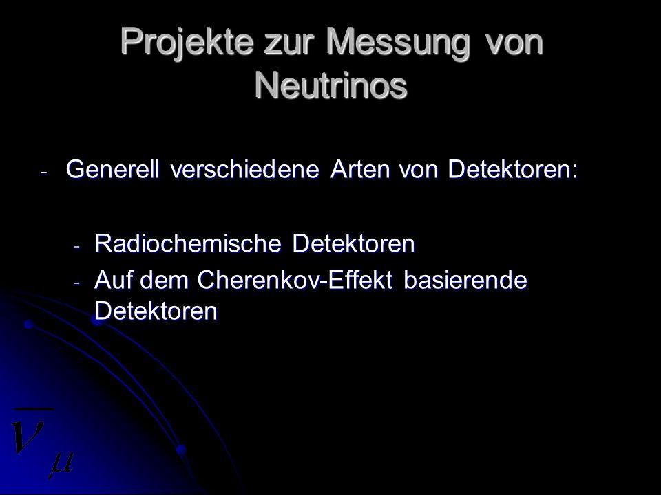 Projekte zur Messung von Neutrinos
