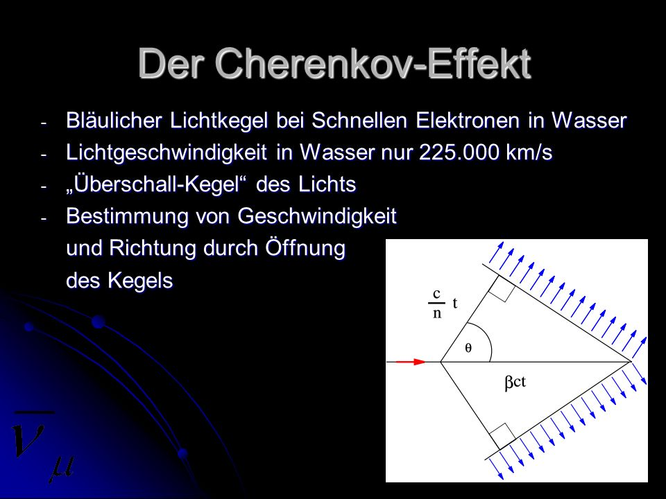 Der Cherenkov-Effekt Bläulicher Lichtkegel bei Schnellen Elektronen in Wasser. Lichtgeschwindigkeit in Wasser nur 225.000 km/s.