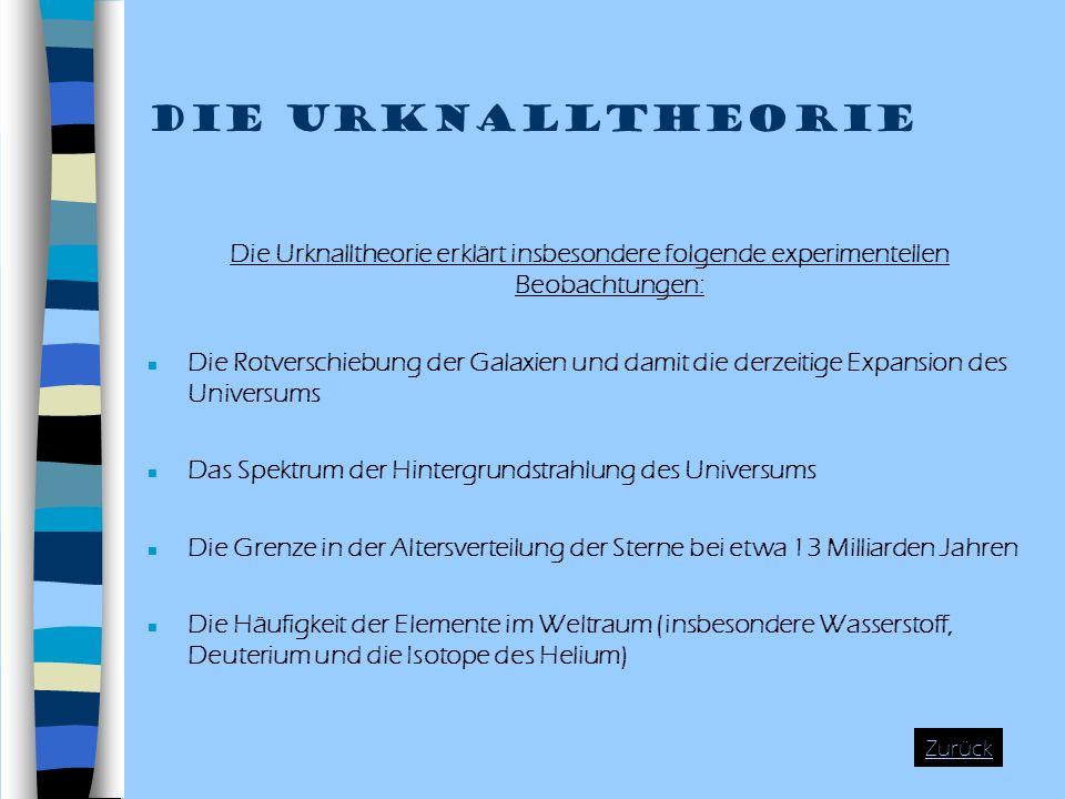 Die Urknalltheorie Die Urknalltheorie erklärt insbesondere folgende experimentellen Beobachtungen: