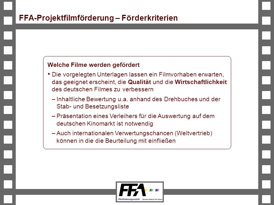 FFA-Projektfilmförderung – Förderkriterien