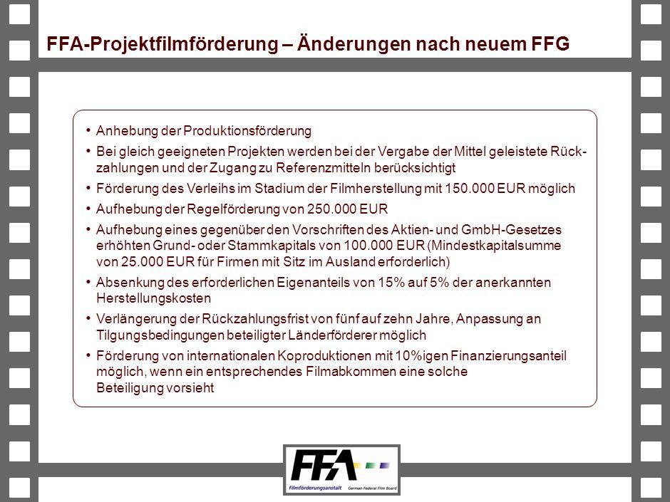 FFA-Projektfilmförderung – Änderungen nach neuem FFG