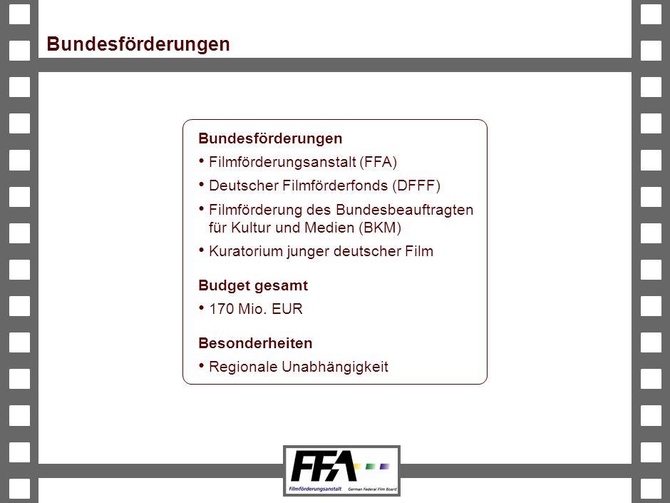 Bundesförderungen Bundesförderungen Filmförderungsanstalt (FFA)