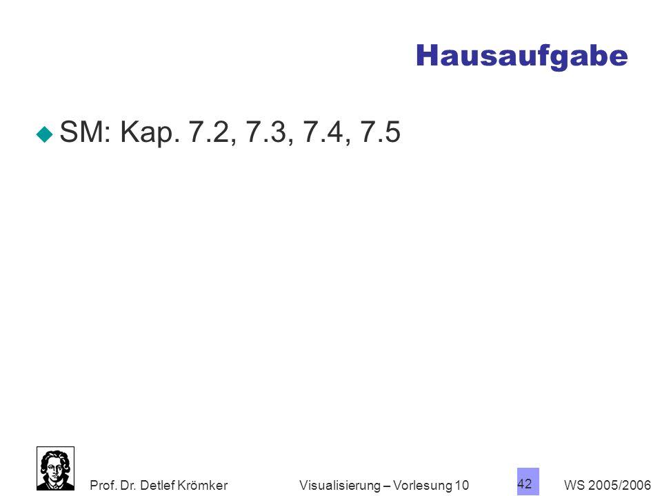 Hausaufgabe SM: Kap. 7.2, 7.3, 7.4, 7.5 Visualisierung – Vorlesung 10