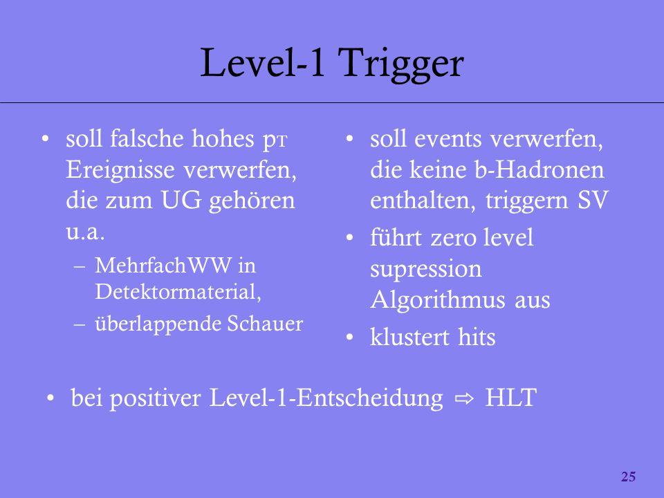 Level-1 Trigger soll falsche hohes pT Ereignisse verwerfen, die zum UG gehören u.a. MehrfachWW in Detektormaterial,