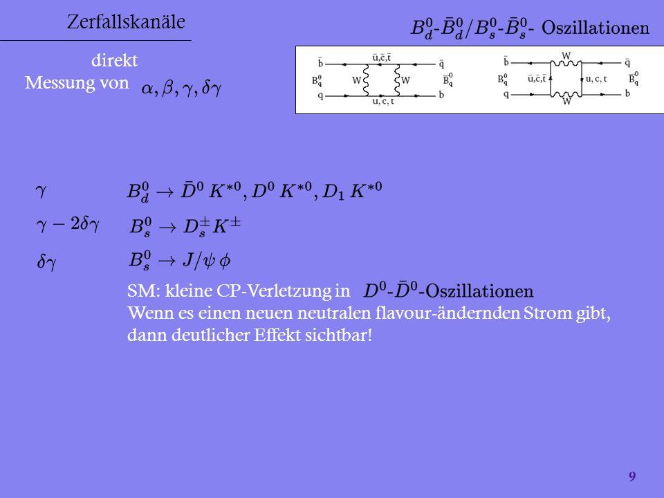 Zerfallskanäle direkt Messung von SM: kleine CP-Verletzung in
