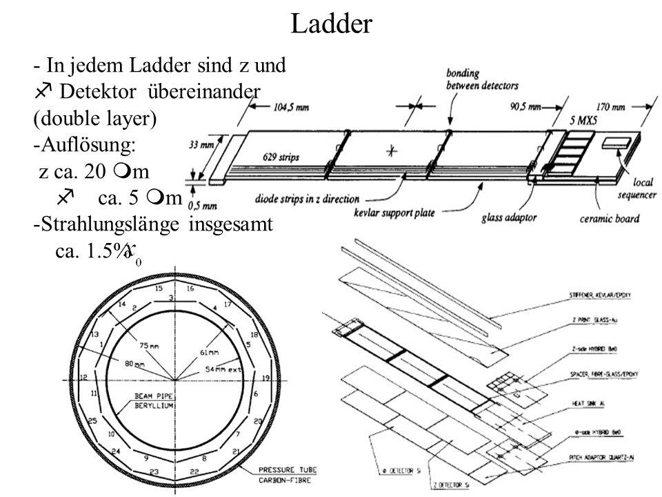 Ladder - In jedem Ladder sind z und Detektor übereinander