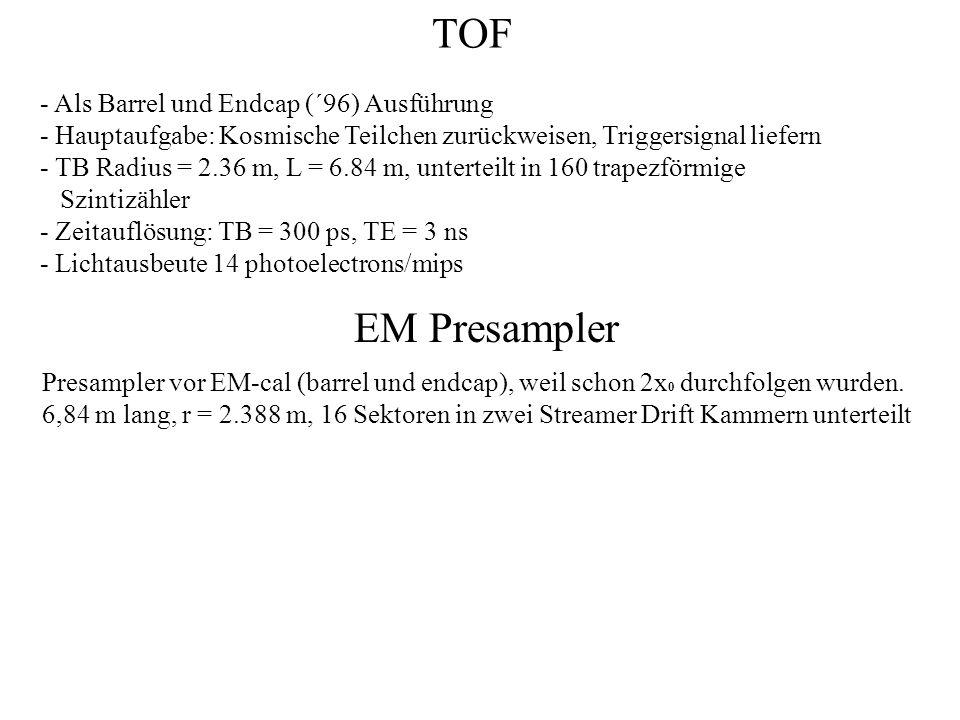 TOF EM Presampler - Als Barrel und Endcap (´96) Ausführung