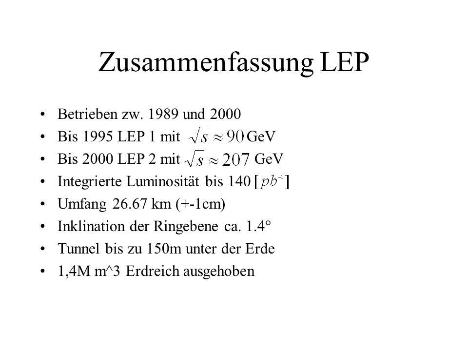 Zusammenfassung LEP Betrieben zw. 1989 und 2000 Bis 1995 LEP 1 mit GeV