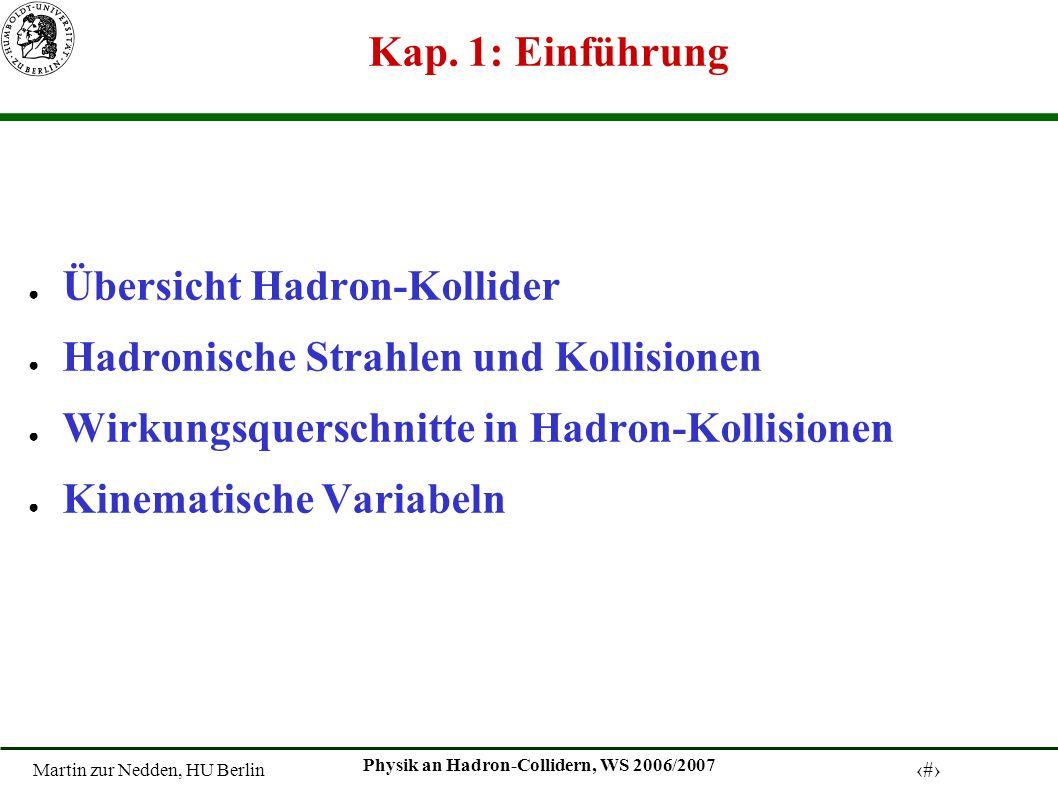 Kap. 1: Einführung Übersicht Hadron-Kollider. Hadronische Strahlen und Kollisionen. Wirkungsquerschnitte in Hadron-Kollisionen.