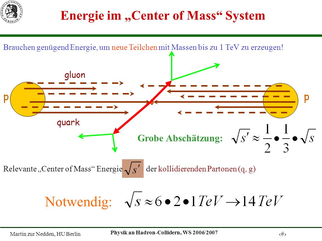 "Energie im ""Center of Mass System"