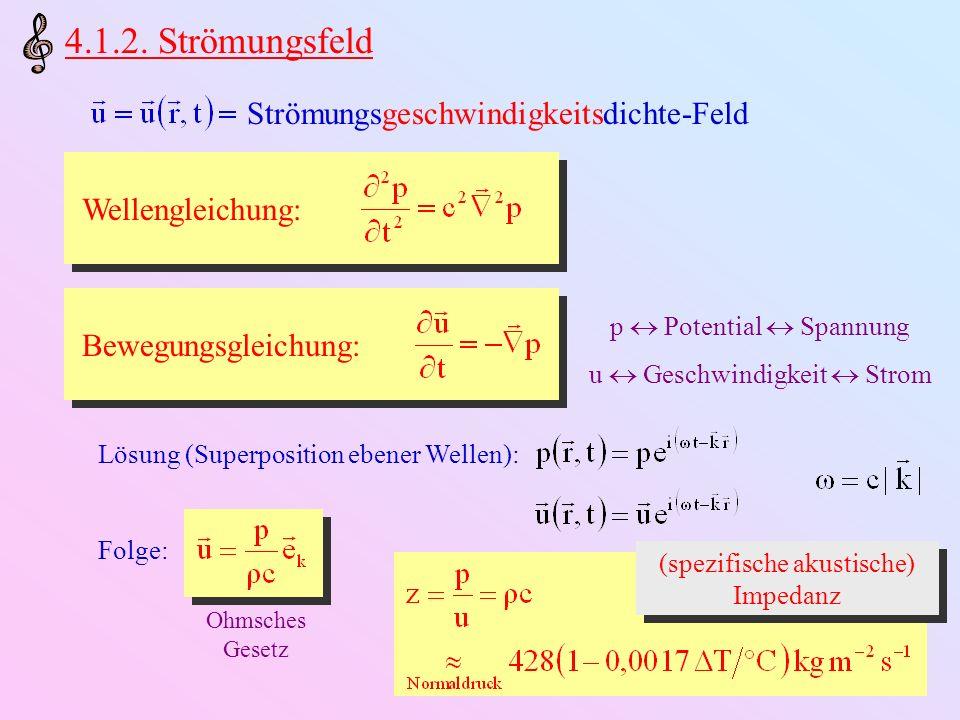 4.1.2. Strömungsfeld Wellengleichung: Bewegungsgleichung: