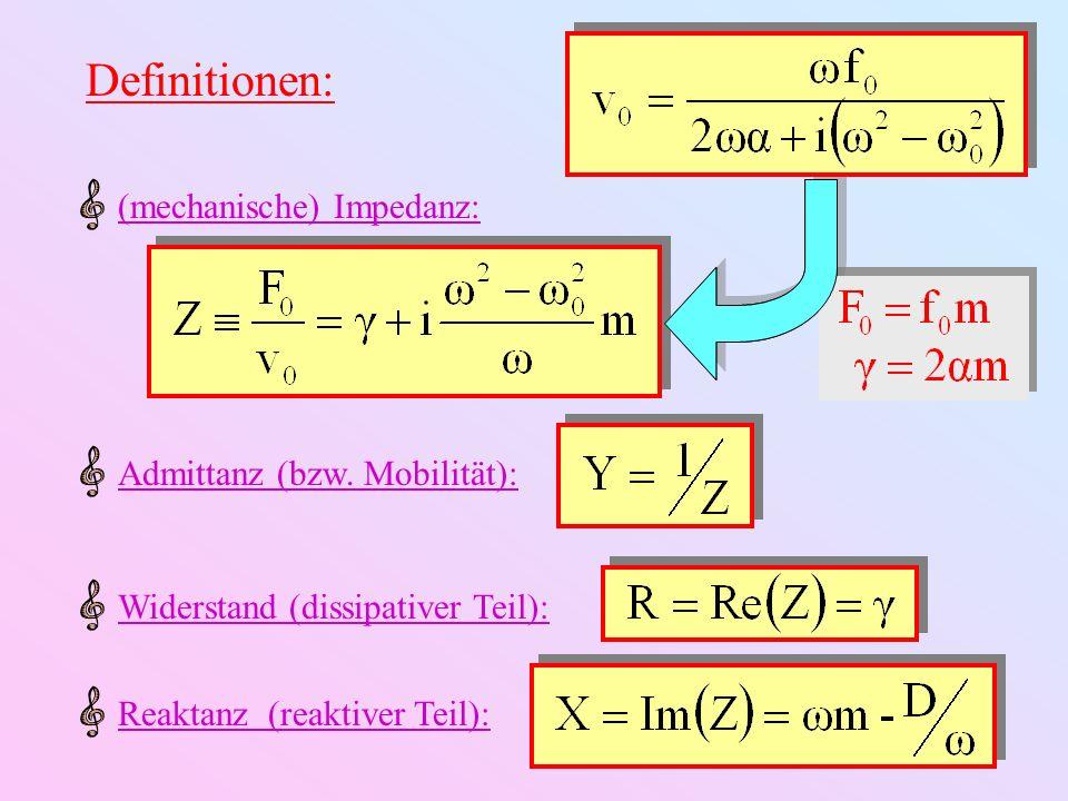 Definitionen: (mechanische) Impedanz: Admittanz (bzw. Mobilität):