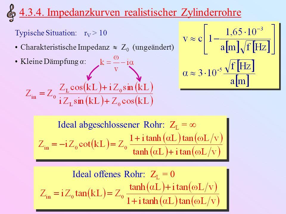 4.3.4. Impedanzkurven realistischer Zylinderrohre