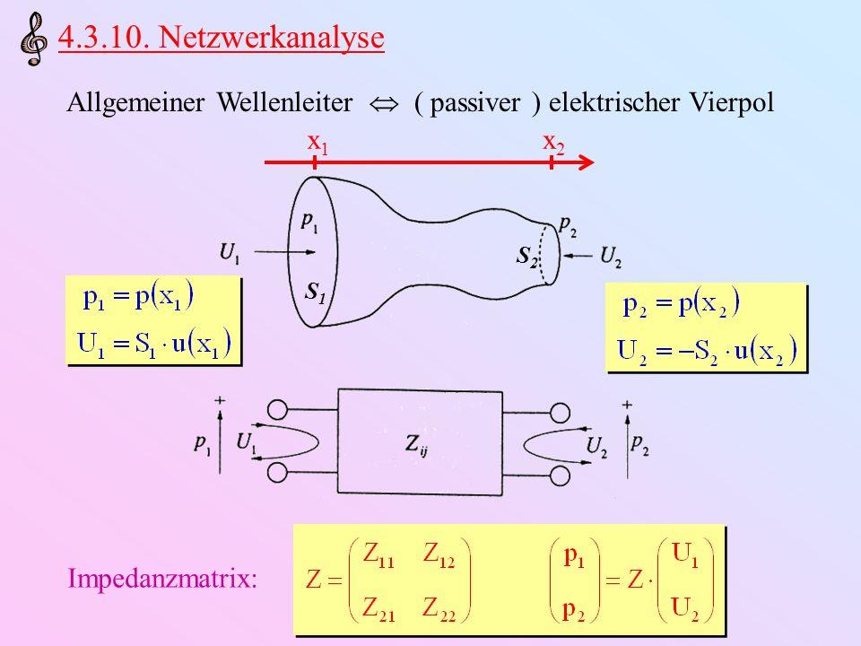 4.3.10. Netzwerkanalyse Allgemeiner Wellenleiter  ( passiver ) elektrischer Vierpol. x1. x2. S1.