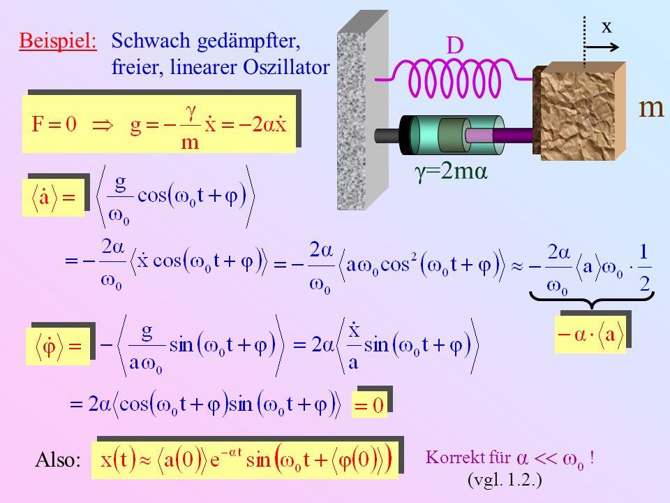 m D γ=2mα x Beispiel: Schwach gedämpfter, freier, linearer Oszillator