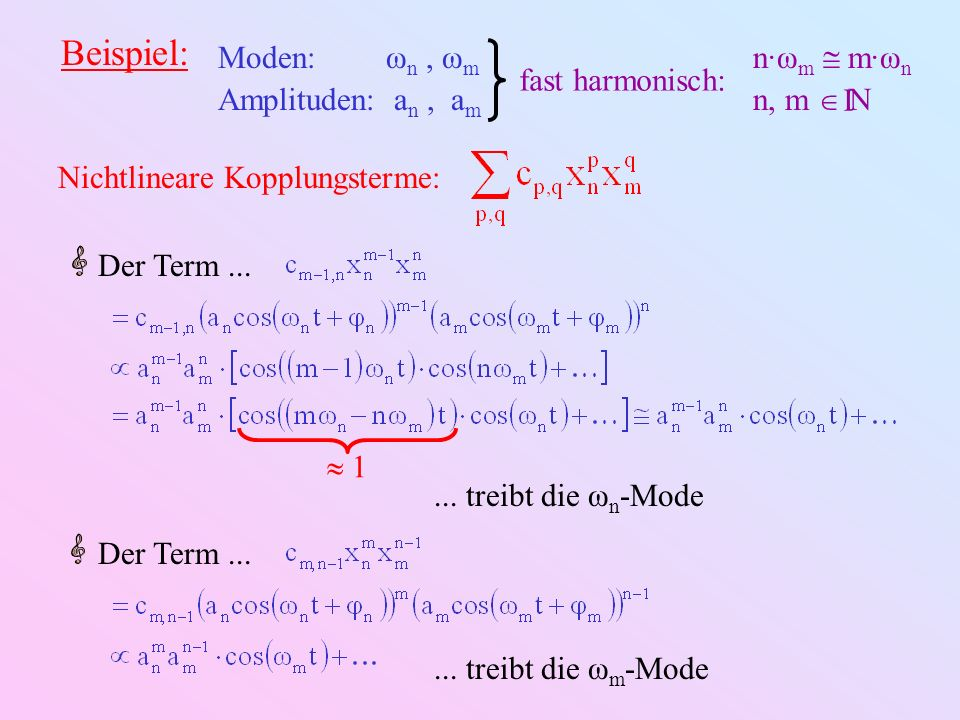 Beispiel: Moden: ωn , ωm Amplituden: an , am n·ωm  m·ωn n, m   I