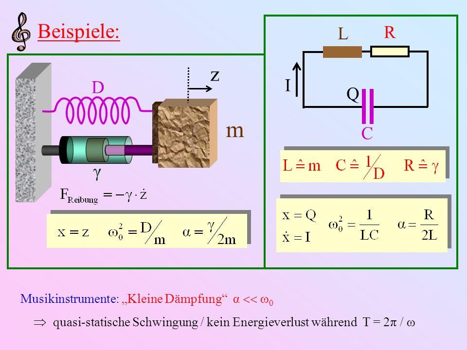 """Beispiele: I. L. R. Q. C. z. D. γ. m. Musikinstrumente: """"Kleine Dämpfung α  ω0."""