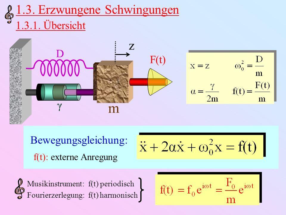 m 1.3. Erzwungene Schwingungen z 1.3.1. Übersicht D F(t) γ
