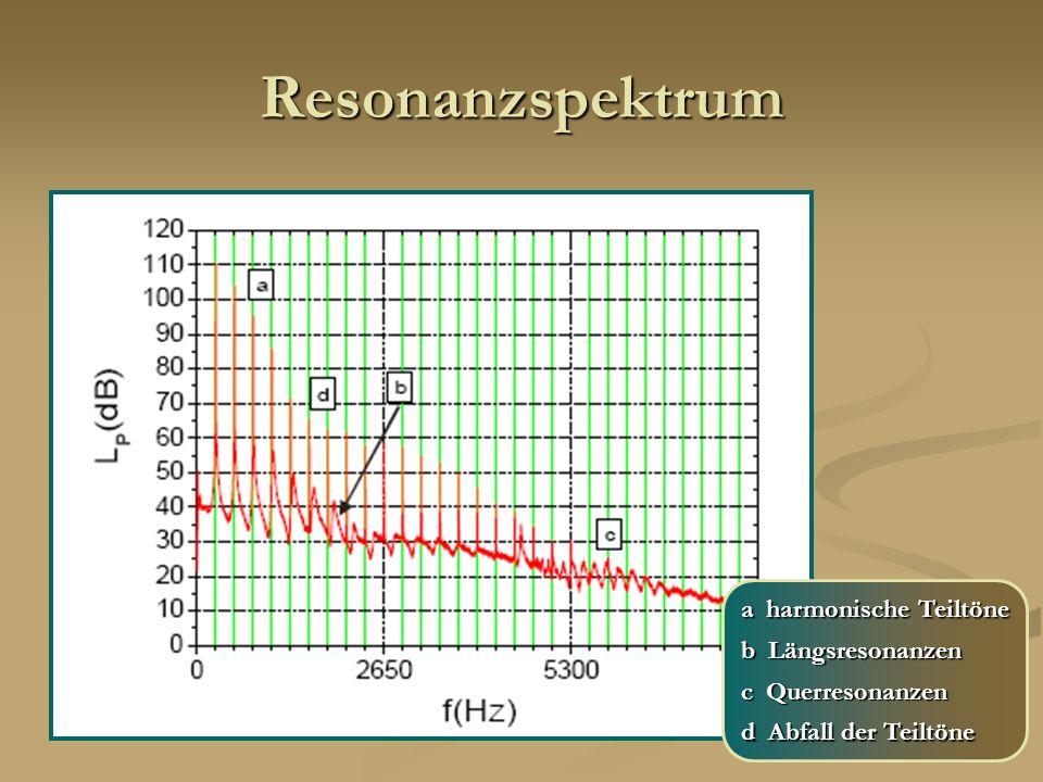 Resonanzspektrum a harmonische Teiltöne b Längsresonanzen