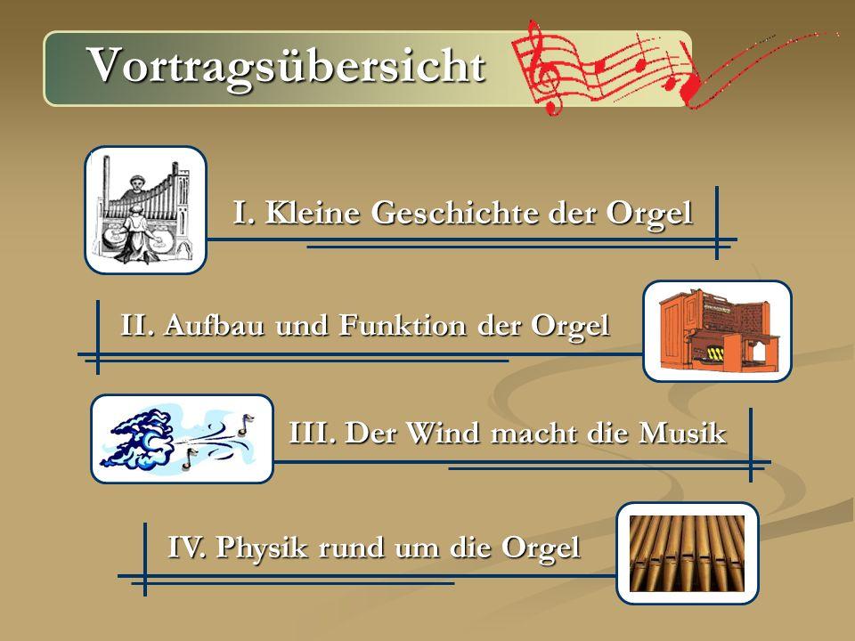 Vortragsübersicht I. Kleine Geschichte der Orgel