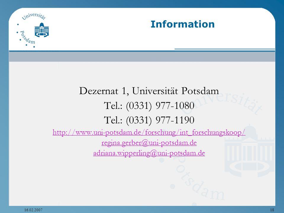 Dezernat 1, Universität Potsdam