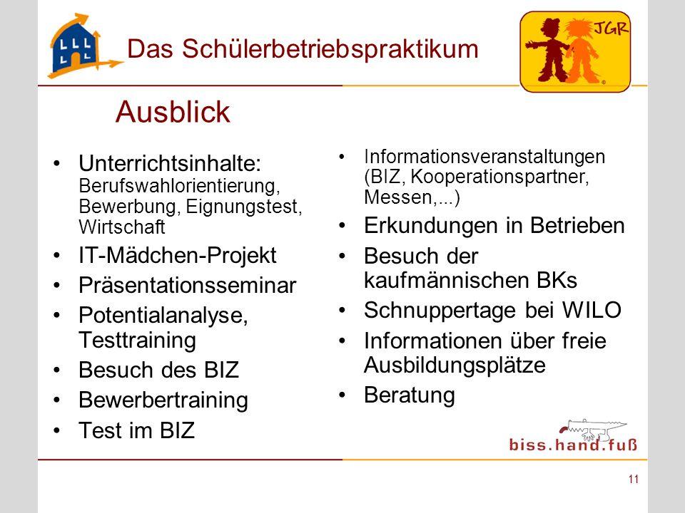 Ausblick Informationsveranstaltungen (BIZ, Kooperationspartner, Messen,...) Erkundungen in Betrieben.