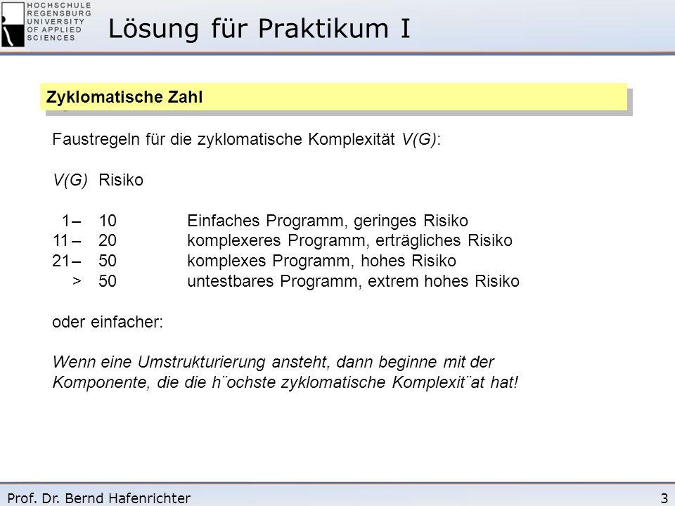 Lösung für Praktikum I Zyklomatische Zahl