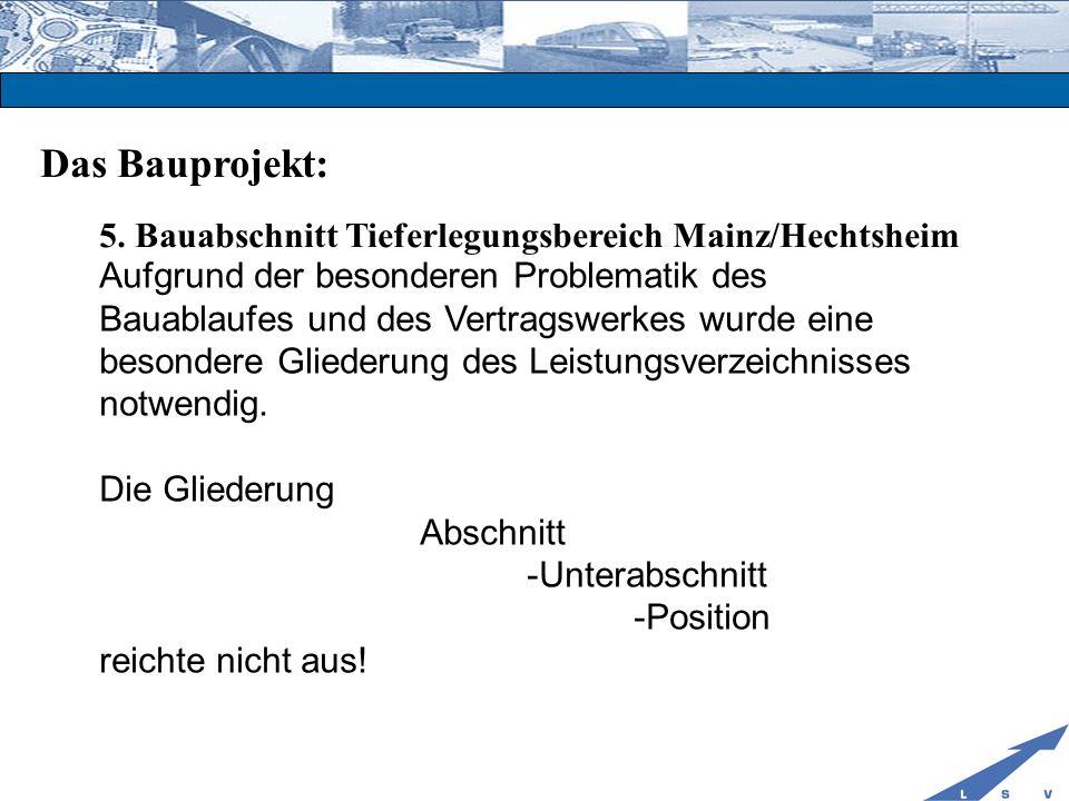 Das Bauprojekt: 5. Bauabschnitt Tieferlegungsbereich Mainz/Hechtsheim