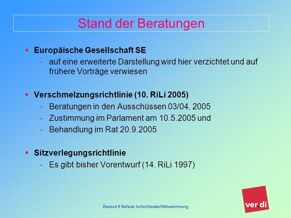 Ressort 8 Referat Aufsichtsräte/Mitbestimmung