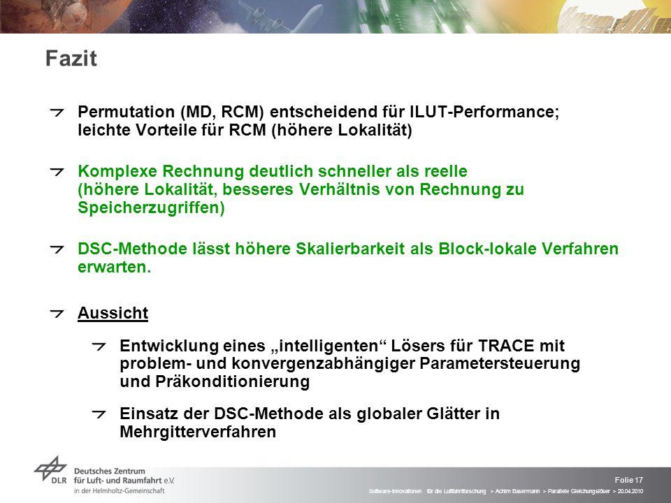 Fazit Permutation (MD, RCM) entscheidend für ILUT-Performance; leichte Vorteile für RCM (höhere Lokalität)