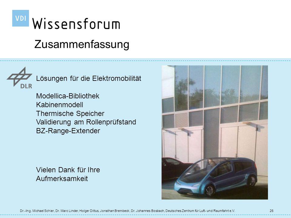 Zusammenfassung Lösungen für die Elektromobilität Modellica-Bibliothek