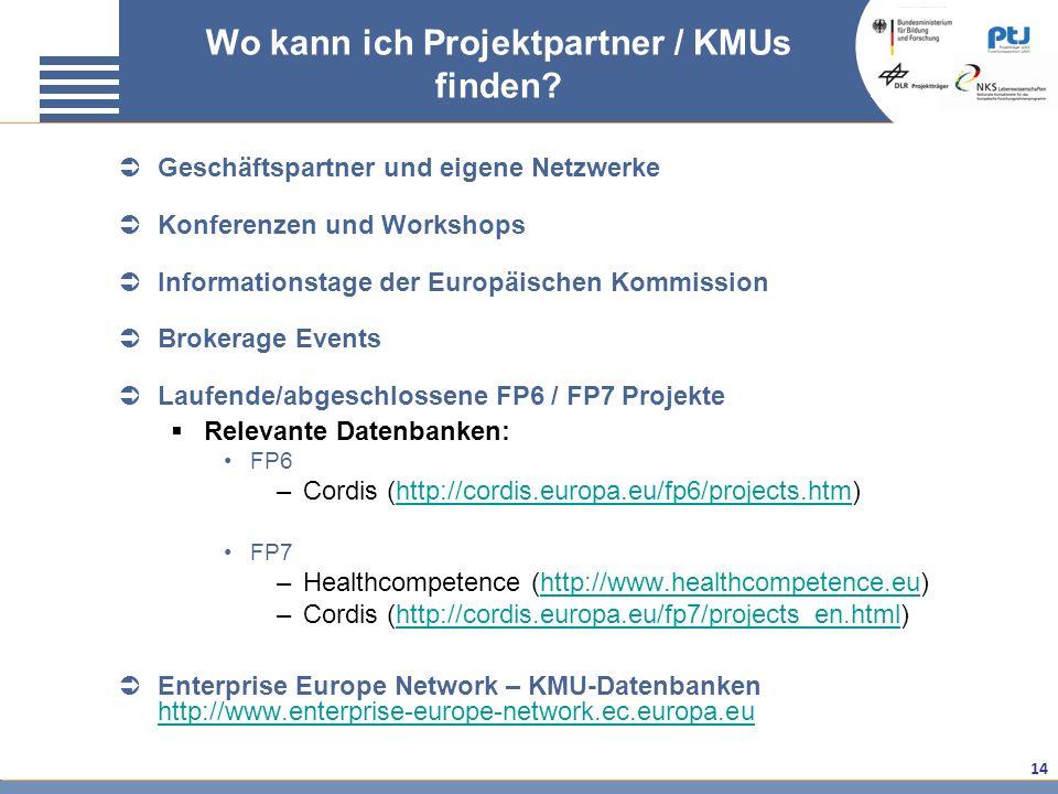 Wo kann ich Projektpartner / KMUs finden