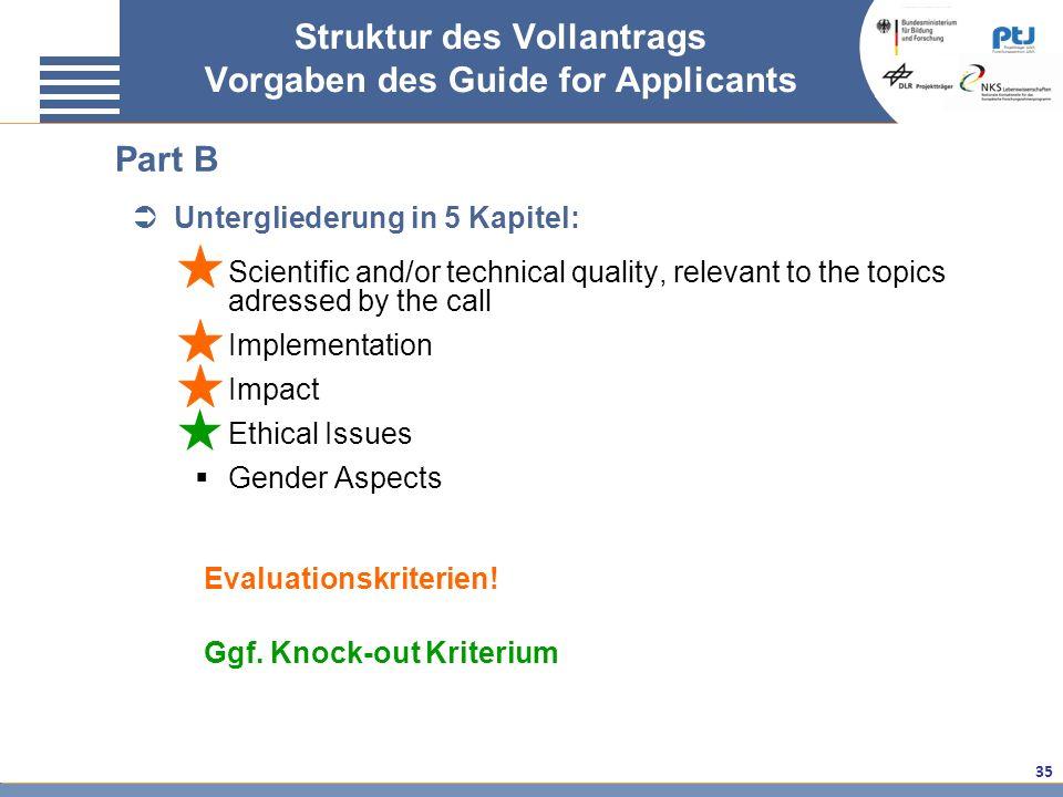 Struktur des Vollantrags Vorgaben des Guide for Applicants