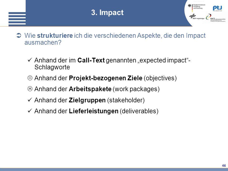 3. Impact Wie strukturiere ich die verschiedenen Aspekte, die den Impact ausmachen