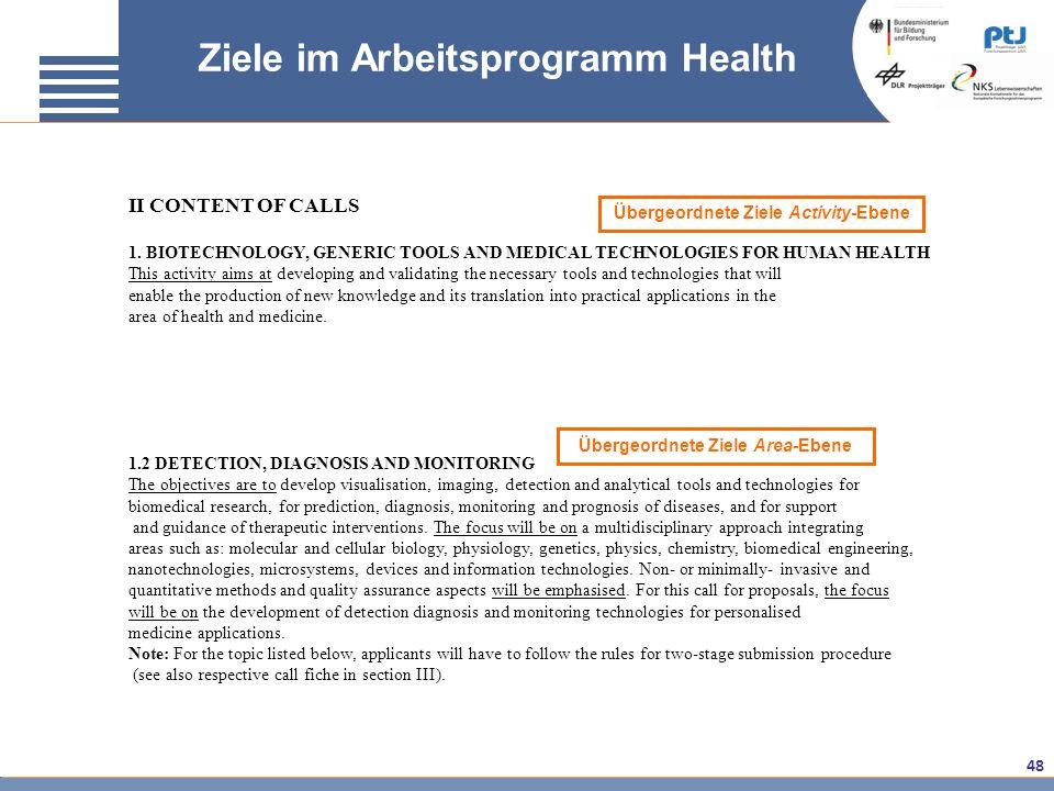 Ziele im Arbeitsprogramm Health