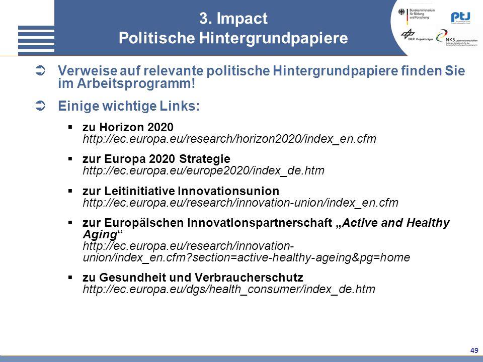 3. Impact Politische Hintergrundpapiere