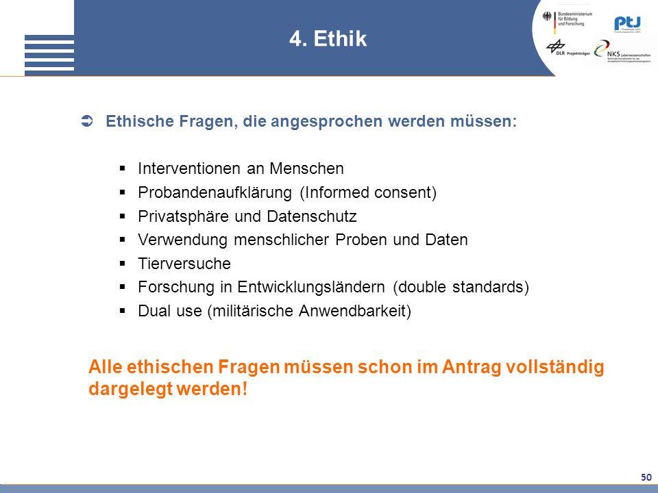 4. Ethik Ethische Fragen, die angesprochen werden müssen: Interventionen an Menschen. Probandenaufklärung (Informed consent)