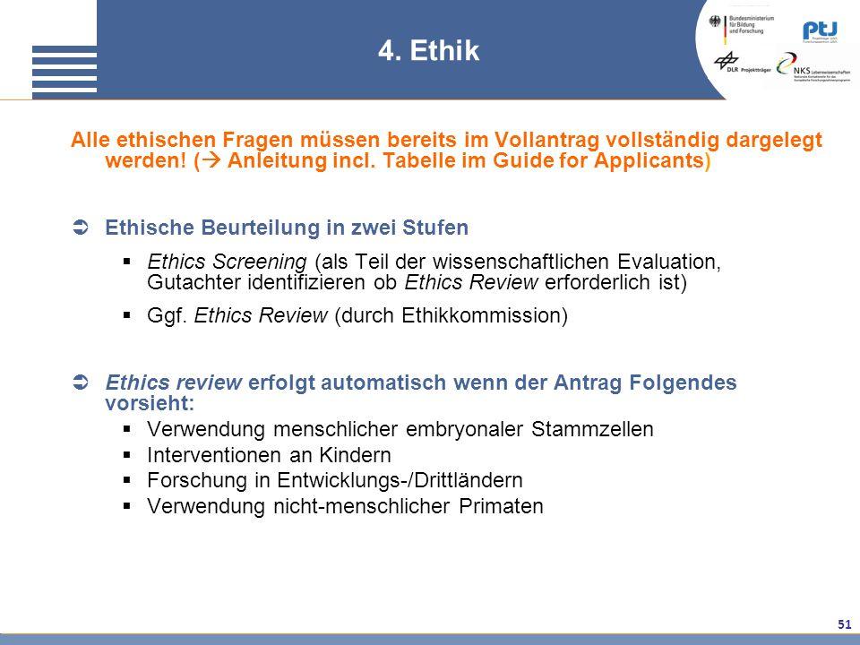 4. Ethik Alle ethischen Fragen müssen bereits im Vollantrag vollständig dargelegt werden! ( Anleitung incl. Tabelle im Guide for Applicants)