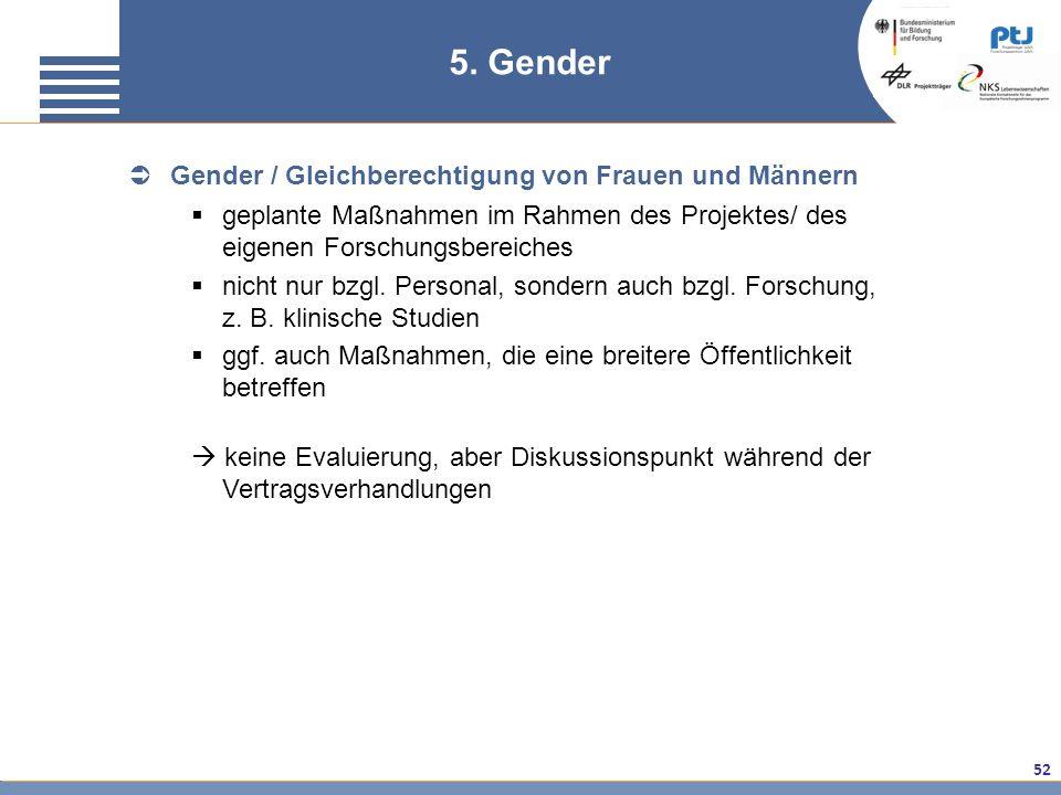 5. Gender Gender / Gleichberechtigung von Frauen und Männern