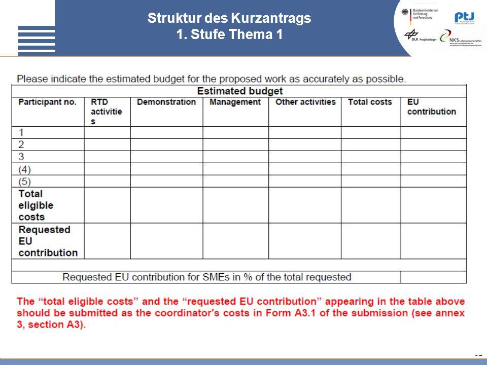 Struktur des Kurzantrags 1. Stufe Thema 1