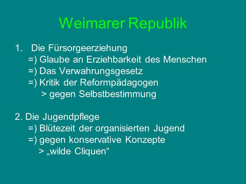 Weimarer Republik Die Fürsorgeerziehung
