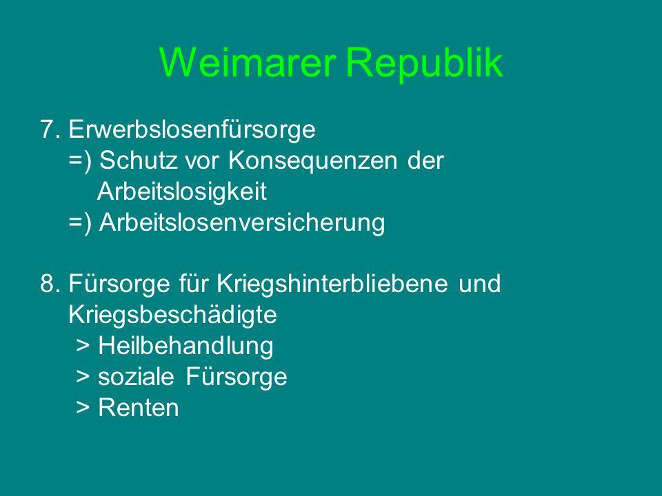 Weimarer Republik 7. Erwerbslosenfürsorge