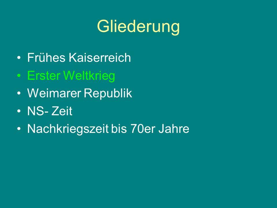 Gliederung Frühes Kaiserreich Erster Weltkrieg Weimarer Republik