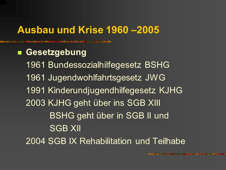 Ausbau und Krise 1960 –2005 Gesetzgebung