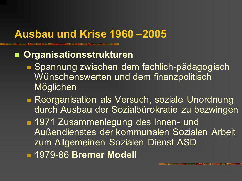 Ausbau und Krise 1960 –2005 Organisationsstrukturen