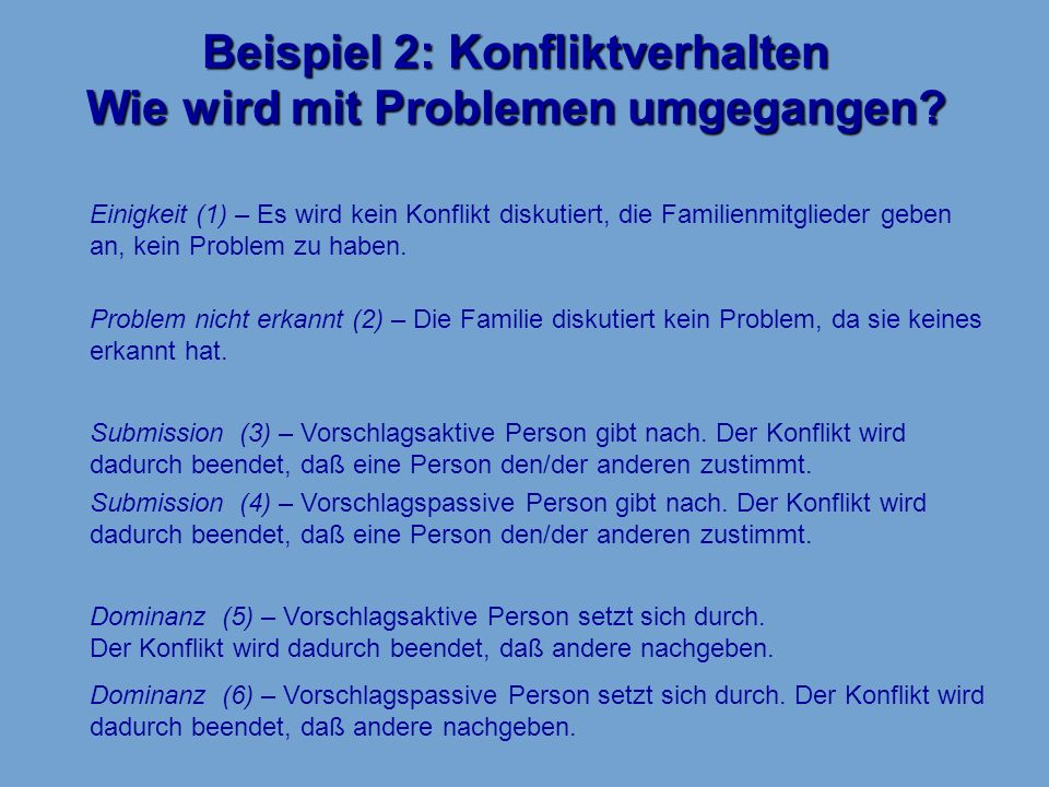 Beispiel 2: Konfliktverhalten Wie wird mit Problemen umgegangen