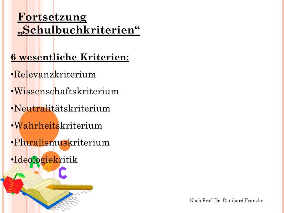 "Fortsetzung ""Schulbuchkriterien"
