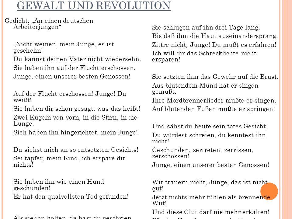 """GEWALT UND REVOLUTION Gedicht: """"An einen deutschen Arbeiterjungen"""