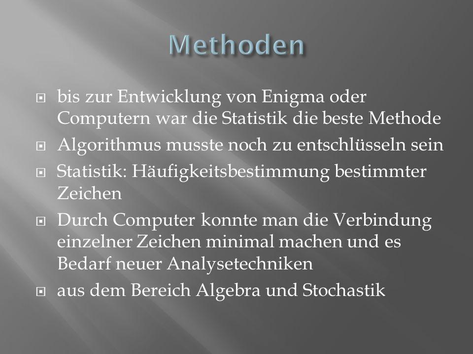 Methoden bis zur Entwicklung von Enigma oder Computern war die Statistik die beste Methode. Algorithmus musste noch zu entschlüsseln sein.