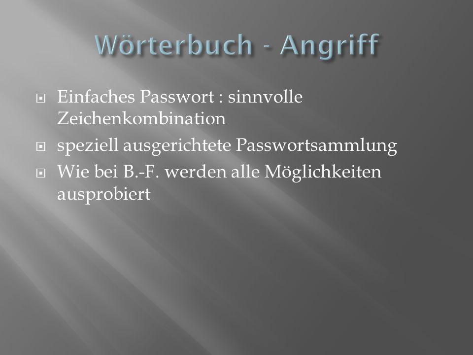Wörterbuch - Angriff Einfaches Passwort : sinnvolle Zeichenkombination
